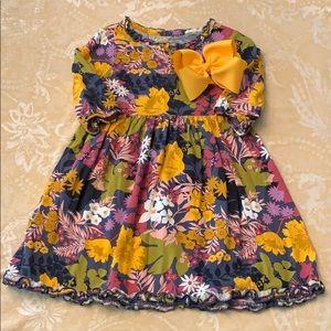 OshKosh Floral Dress 3/4 Sleeve Hair Bow Girls 4T